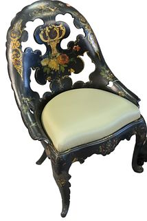 Black Lacquered Chair with rounded back, painted flower design, height 36 inches.