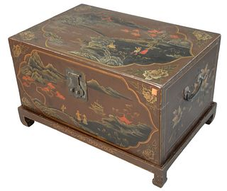 "Chinoiserie Decorated Lift Top Chest, on base with short legs, height 17 inches, top 18"" x 27""."