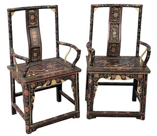 Pair of Chinese Armchairs, paint decorated with dragon, bird, and flowers, height 42 inches.