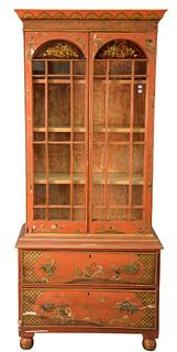 Chinoiserie Decorated Display Cabinet, in two parts, two glazed doors over two drawers, (chips on doors and drawers), height 76 inches, overall width