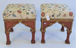 "Pair Paint Decorated Footstools, with cruelwork tops, height 17 inches, top 16"" x 16""."