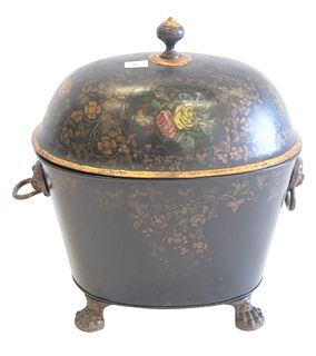 Victorian Tole Coal Hod painted black with flowers, having dome top and claw feet, height 20 inches, width 18 inches.