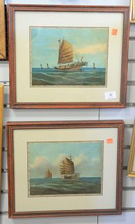 "Pair of Chinese Trade Paintings, oil on board, of Chinese junk or ship at sea, 7 1/2"" x 9 3/4""."