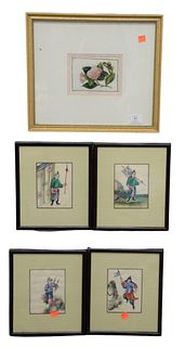 "Group of Nine Asian Rice Paper Paintings, to include four figural works, four works of ships, along with one botanical scene, 5"" x 3 3/4"", 4"" x 6"", an"