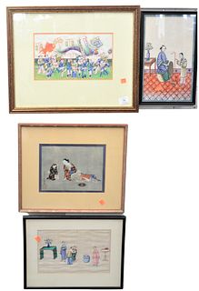 """Group of Five Asian Rice Paper Paintings, each with several figures, largest sight size 7"""" x 11 1/2""""."""