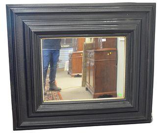 "Flemish Ebony Mirror, having 13 inch wide rippled, moulded, ebonized frame, 18th/19th Century, top 53"" x 60""."