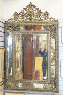 """Large 19th Century Brass Embossed Mirror, with mirrored frame, 56 1/2"""" x 34""""."""