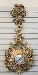Continental Style Sessions Wall Clock, having carved wood gilt ribbon and scrolling foliate and flower design, height 38 inches.