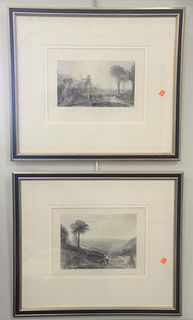 Grouping of Six J.M.W. Turner (British, 1775 - 1851), Italian landscapes, engravings on paper, each titled in plate in the lower margin, sizes ranging