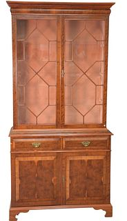 Two-Part Cabinet, with glass shelves, burlwood, height 82 inches, width 39 inches.