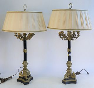 Pair of Large Bronze Candelabras, 5 arm on tall support with triangular base, made into a table lamp, overall 39 inches.