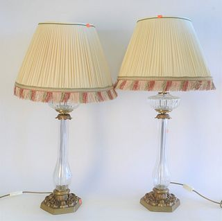 Pair Cut Crystal Table Lamps, with brass mounts and bases, total height 35 inches.