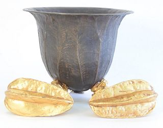 Three Bronze Pieces, to include bronze bowl with leaf form body and gilt frog feet, height 8 inches; along with a pair of gilt bronze paperweights, in