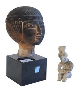 Two Piece Lot to include Egyptian Carved Stone Bust of a Pharaoh along with an early stone seated figure (as is), height 10 inches (Pharaoh), height 4