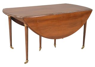 Continental Style Mahogany Extending Drop Leaf Table, in manner of Jansen, with two extra leaves, 24 inches each, height 29 inches, diameter 60 inches