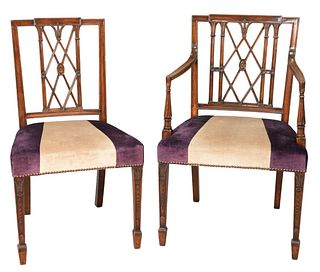 Set of Twelve Sheraton Style Dining Chairs, with fully upholstered seats. Provenance: Eight sold at Christie's, South Kensington, June 7, 2000; 4 made