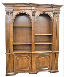 Walnut Bookcase, with fluted pilaster ends, with open shelves and door to either end, height 86 inches, total length 72 inches, total depth 18 1/2 inc