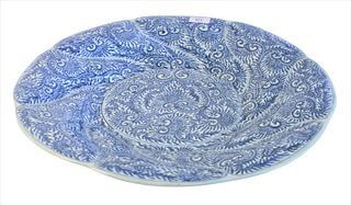 Chinese Blue and White Charger, with scroll and peony design, diameter 19 1/4 inches.