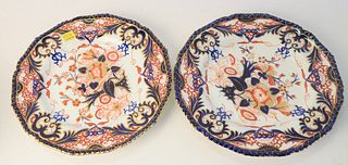 Set of Eight Bloor Derby Porcelain Dinner Plates, marked on bottom 'Bloor Derby', diameter 10 inches.