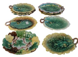 Ten Majolica Leaf Shaped Dishes, with acorn forms, (breaks and repairs/as is), length 12 inches.