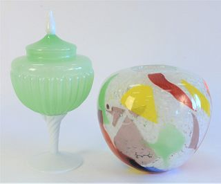 Eight Piece Art Glass Lot, to include a yellow and purple Venetian compote; a green opaline style covered compote; a red glass bell; a glass hanging p