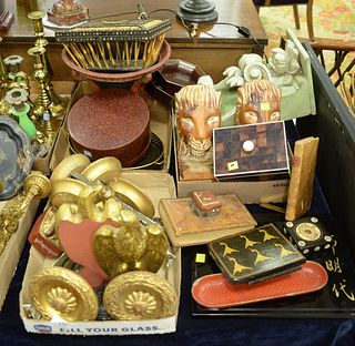Three Tray Lots, to include gilt ceramic eagle bookends; carved wood lion bookends; 6 gilt wood tie backs; an inkwell in the form of a book; along wit