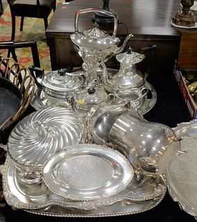 Group of Silver Plate, to include serving trays, tea set, pitchers, etc.