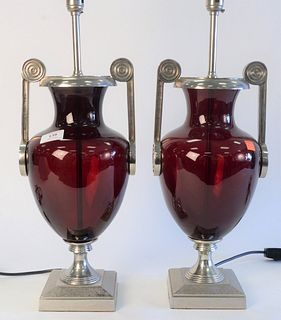 Pair Decorative Table Lamps, height 30 inches.