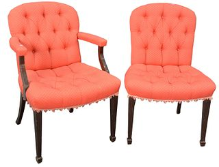 Set of Eight Mahogany Upholstered Dining Chairs, 2 arm, 6 side, height 36 inches.
