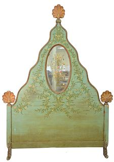 Carved and Painted Headboard, with painted oval mirror, height 96 inches, width 65 inches.