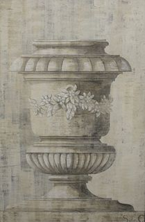 """Two Oversized Acrylic on Canvas, of classic urns, one marked in the lower right 'S de C', each 71 1/2"""" x 47 1/2""""."""