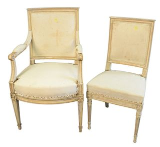 Set of Six Continental Style Side Chairs, (in need of upholstering), tallest height 37 inches.