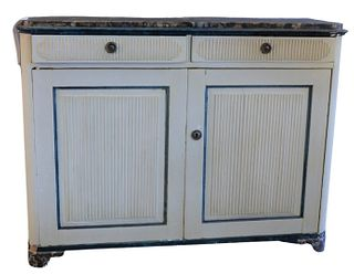 Continental Cabinet, having faux marble top, over two drawers, over twin doors, all with reeded, carved fronts, raised on ogee feet, height 42 inches,