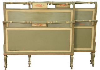Pair of Twin Beds, paint decorated with headboards, footboards and rails, height 40 inches.