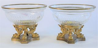 """Pair Crystal and Gilt Bronze Oval Dishes, on gilt bronze dolphin bases, height 4 1/2 inches, top 4 1/4"""" x 5 7/8""""."""