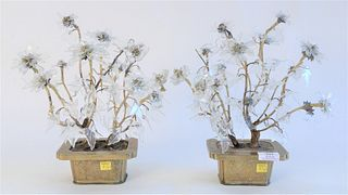 Pair Crystal Floral Plants, with crystal leaves, all set in brass pots, height 13 inches.