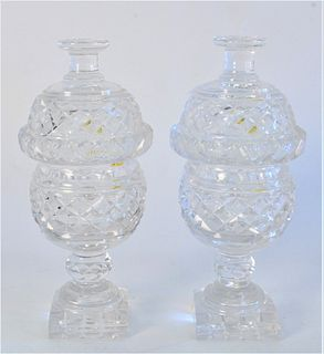 Pair Anglo Irish Covered Crystal Dishes, height 8 inches.