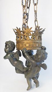 Bronze Putti Hanging Light, having three cherubs holding a crown form shade with one light, height of figure 16 inches.