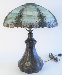 Victorian Reverse Painted Table Lamp, reverse painted with landscape scene, painted flower frame, with matching ceramic base, attributed to Bradley &