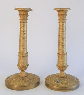 Pair of Neoclassical Style Brass Candlesticks, height 11 3/4 inches.