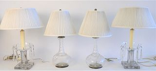 Two Pairs of Cut Glass Table Lamps; pair of decanters with etched grape and leaf decor, total height 17 inches; along with a pair of crystal candlesti