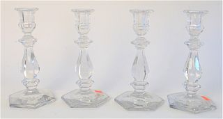 Set of Four Crystal Candlesticks, height 9 inches.