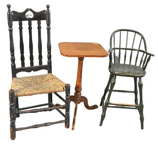 Three Piece Lot, to include bannister back side chair, height 40 1/2 inches; candlestand; along with reproduction youth chair, height 32 inches.