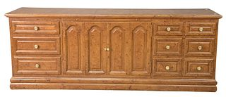 Contemporary Credenza, having slide-out writing surface over two doors, flanked by three drawers on each side, grain painted, (worn), height 32 inches