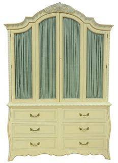 Armoire in White Paint, with stencil decoration, having twin fold-out doors, over side-by-side drawers, height 92 inches, width 62 inches.