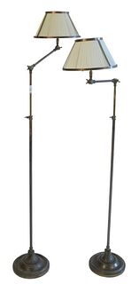 Pair of Bronze Adjustable Floor Lamps, with metal framed silk shades.