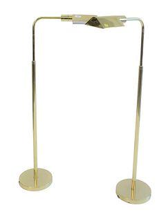Pair of Mendizabal Adjustable Brass Floor Lamps.