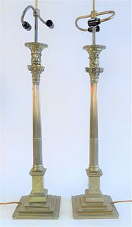 Pair of Brass Candlesticks, made into table lamps, probably 19th Century, total height 38 1/2 inches.