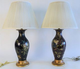Group of Five Table Lamps, to include pair of papier mache table lamps, with painted flowers (as is), height 29 inches; a large ceramic vase, made int