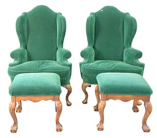 Four Piece Lot, to include pair Kenyon custom upholstered wing chairs, along with a pair of Chippendale style ottomans, all with mohair upholstery, he